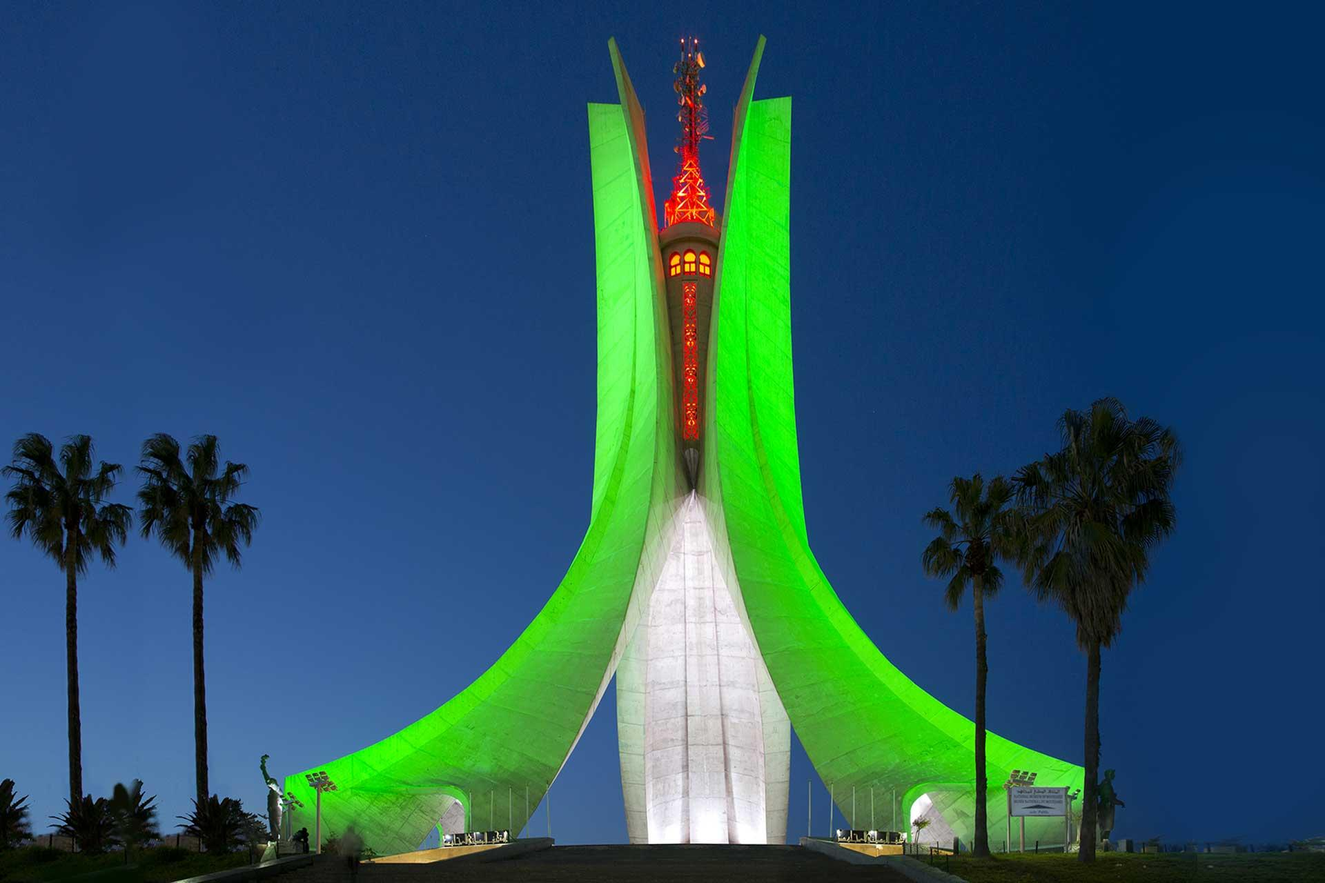 Schréder illumination scheme transforms iconic Maqam Echahid into a striking focal point on the heights of Algiers